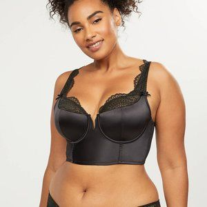 Cacique longline french balconette black satin 42G